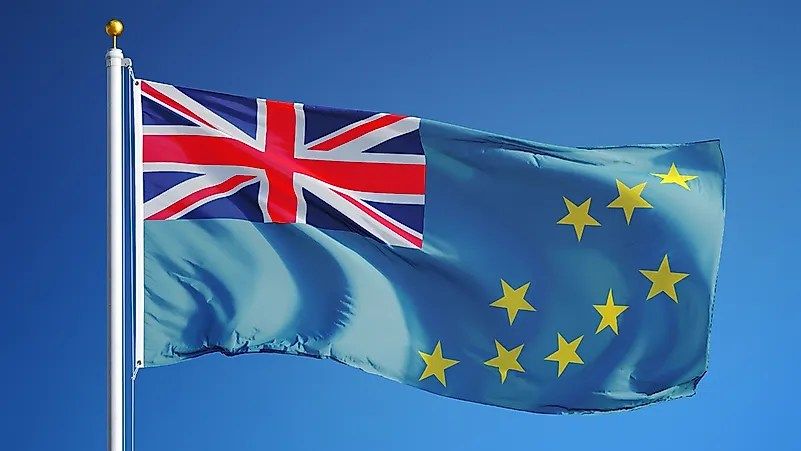 A bandeira de Tuvalu.  Tuvalu era anteriormente uma colônia britânica.