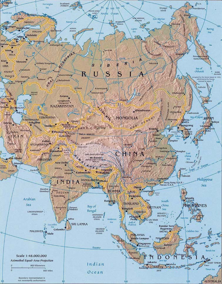 Russia Map Rivers And Mountains