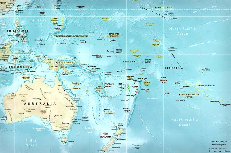 large map of oceania
