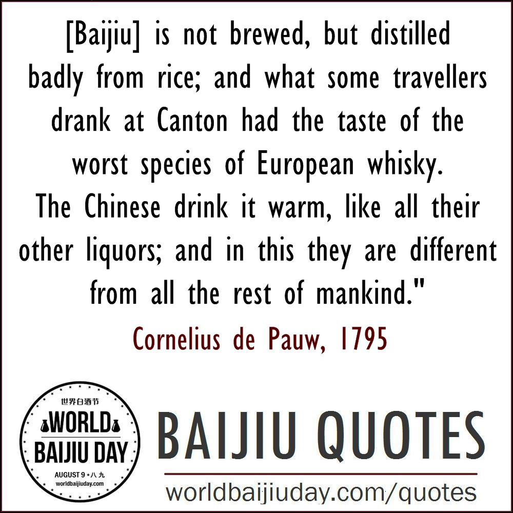 world baijiu day quotes Cornelius de Pauw