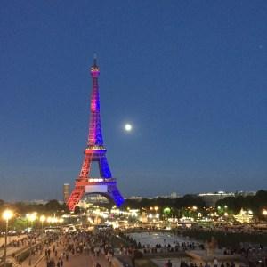 Eiffel Tower in colors of Paris Saint-German