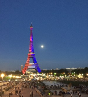 Eiffel Tower in colors of Paris Saint-German