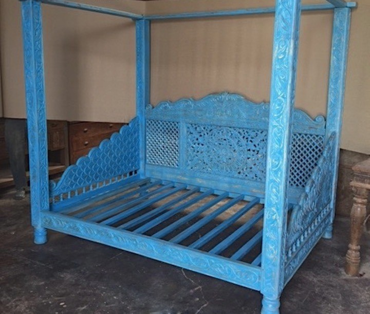 Lotus Canopy Daybed Blue Finish Full Size Worldcraft