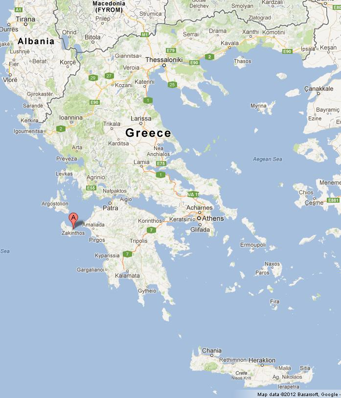 Zakynthos on Map of Greece
