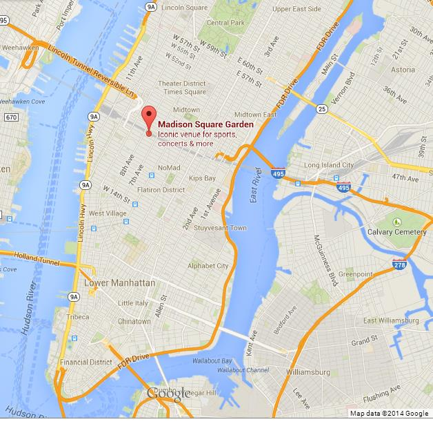 Image result for madison square garden location map