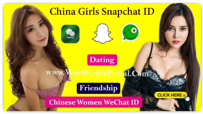 Chinese girls Snapchat ID for Dating, Friendship, List of College Girls, Divorced Women