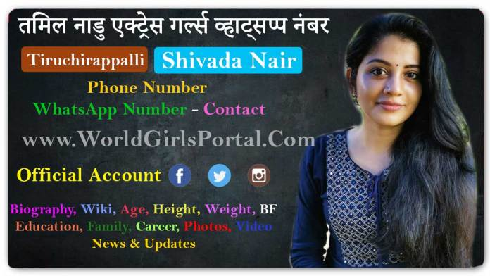 Shivada Nair Contact Details Tamil Model Girls WhatsApp Number Social Media Location for Promotion - World Girls Portal