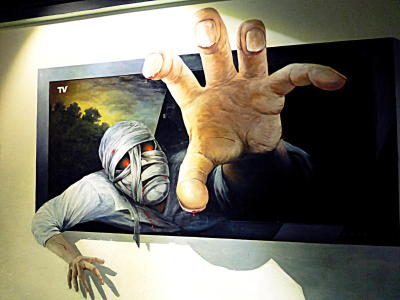 The paintings during a Trick Art Museum during i-City are two-dimensional, butpainted in a approach that gives an sense of abyss where there is none.