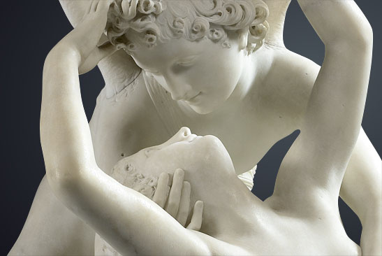 Antonio Canova (1757–1822), detail of Psyche Revived by Cupid's Kiss, marble, MR 1777, Musée du Louvre, Paris / © 2010 Musée du Louvre / Raphaël Chipault.