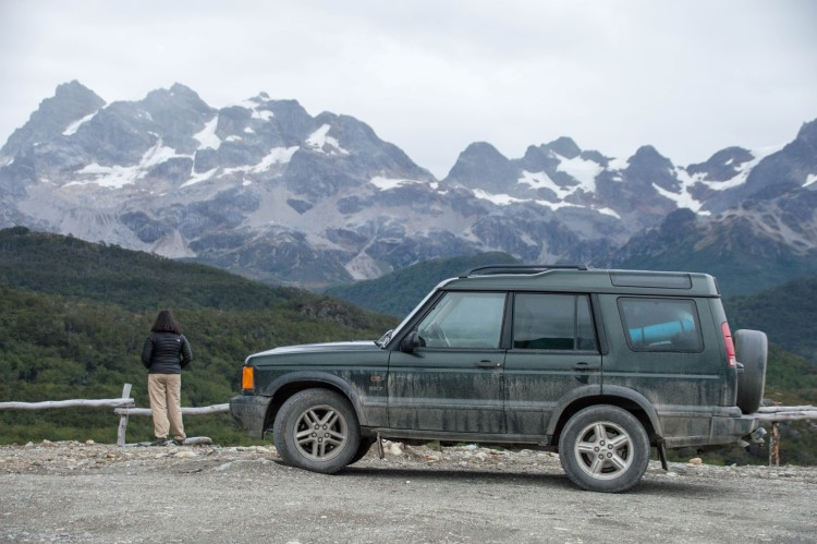 Mountains at the end of the road in Chilean Tierra del Fuego, Patagonia.