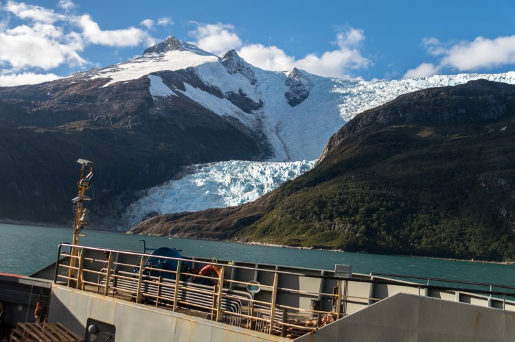 Glacier Alley as seen from the ferry boat between Punta Arenas and Puerto Williams.