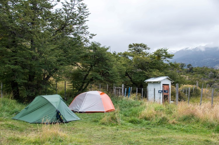 Camping in a campsite in Torres del Paine National Park, Chile.