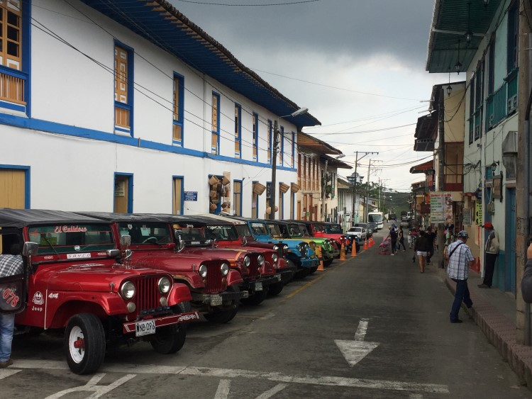 Willys Jeeps in the main square in Salento, Colombia