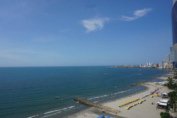 The busy beaches of Bocagrande., Cartagena.