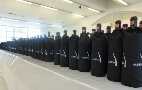 Bottles ready for the blind tasting.