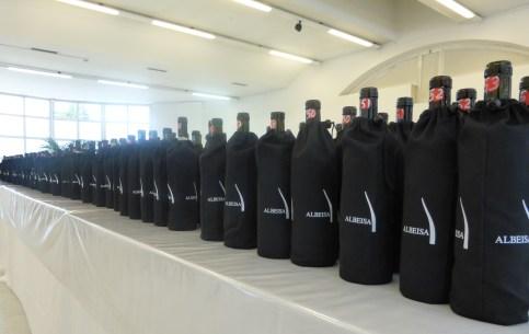 Bottles ready for the blind tasting.