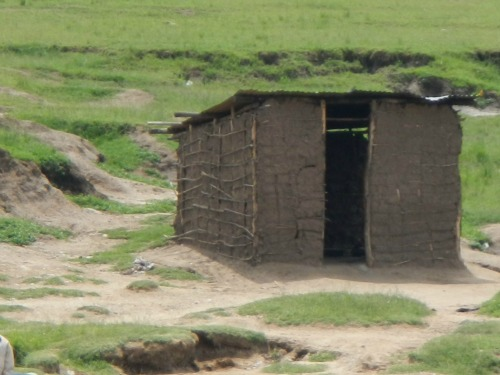 Ugandan house made of mud and sticks.