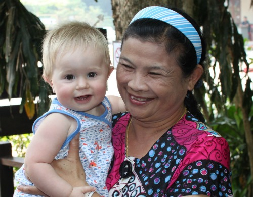 Asian Woman with Caucasian Child
