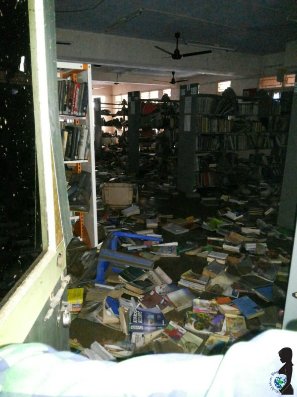 A school library in Chennai wrecked by the flooding.