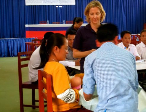 CleanBirth.org Founder Kristyn Zalota training nurses in Laos