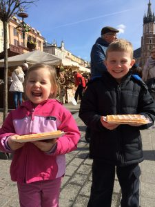 Enjoying waffles while visiting the Easter markets in Krakow