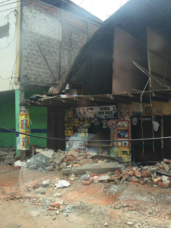 What remains or a gift shop in Manta, Ecuador after a series of recent earthquakes in April 2016. Manta is Ecuador's largest seaport on the Pacific ocean.