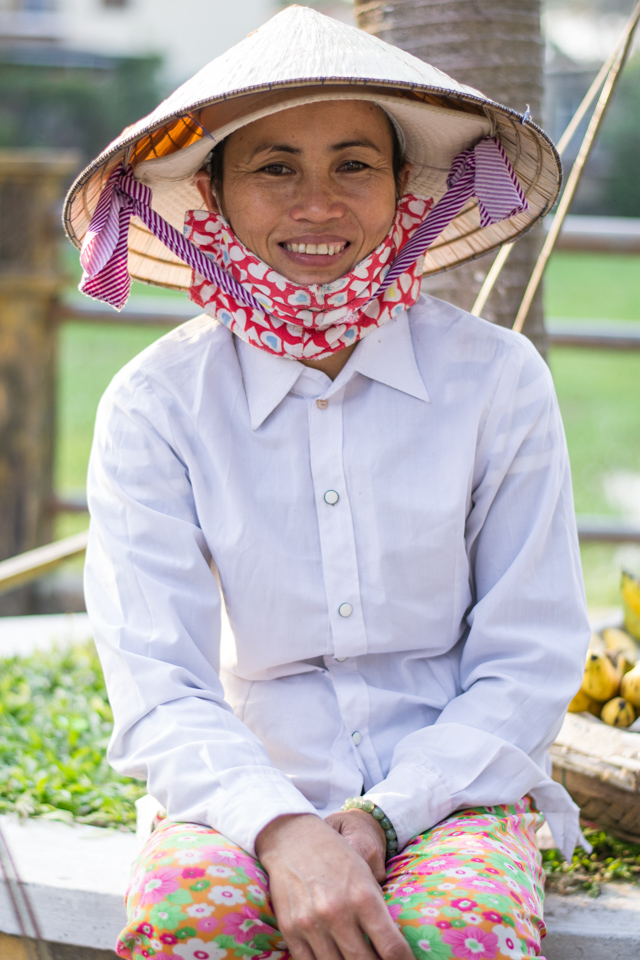 Vietnamese woman in traditional conical hat