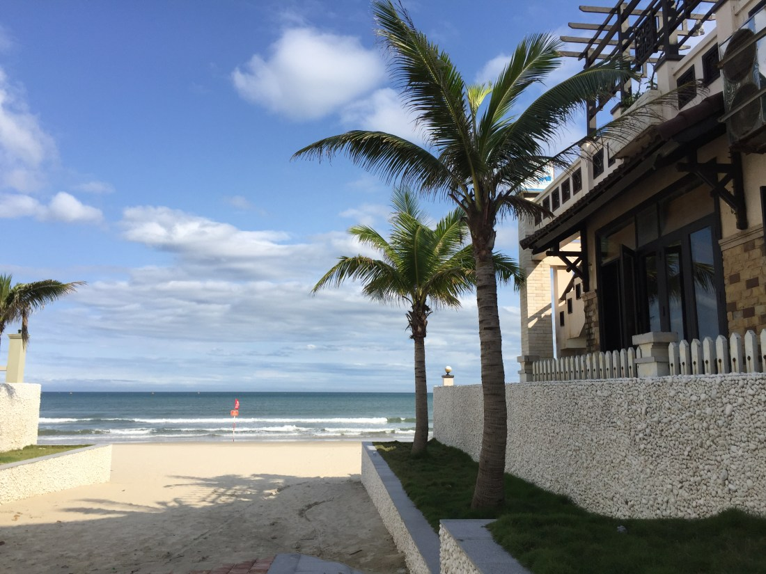 Blue skies, palm trees, beach