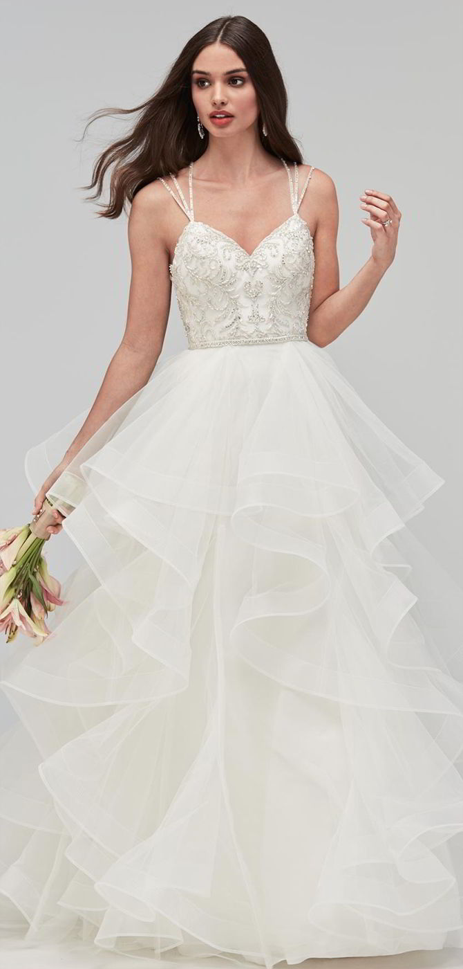 Dress Sweetheart Fit And Wedding Flare Line Lace Tulle Neckline And Soft Embellished
