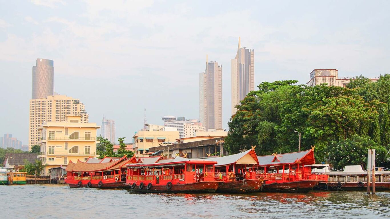 Rice barge in Thailand on river