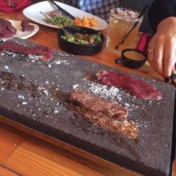 steak on stones