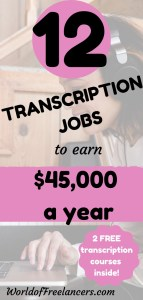Pinterest image - woman with headphones with pink, black and white text 12 transcription jobs to earn $45K a year