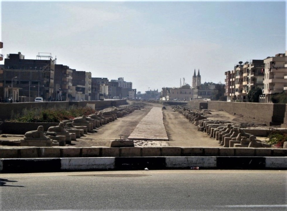 Road lined by sphinxes called Avenue of the Sphinxes in Luxor, Egypt