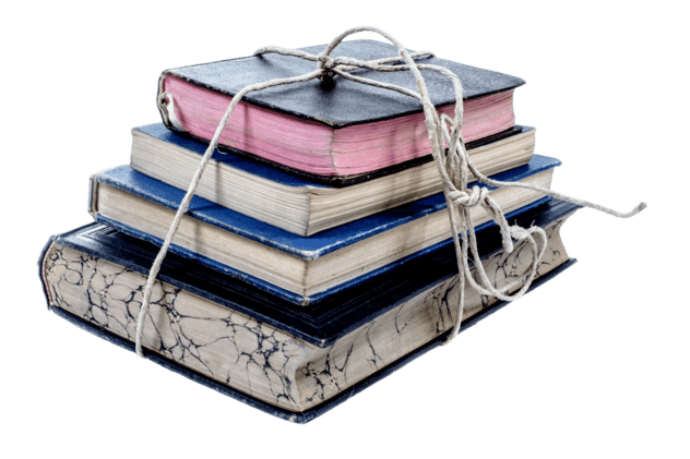 5 multicolored books full of proofreading tips, tied with string