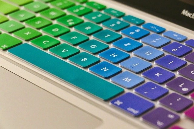 Multi-colored Keyboard For Creative Work-at-home Jobs