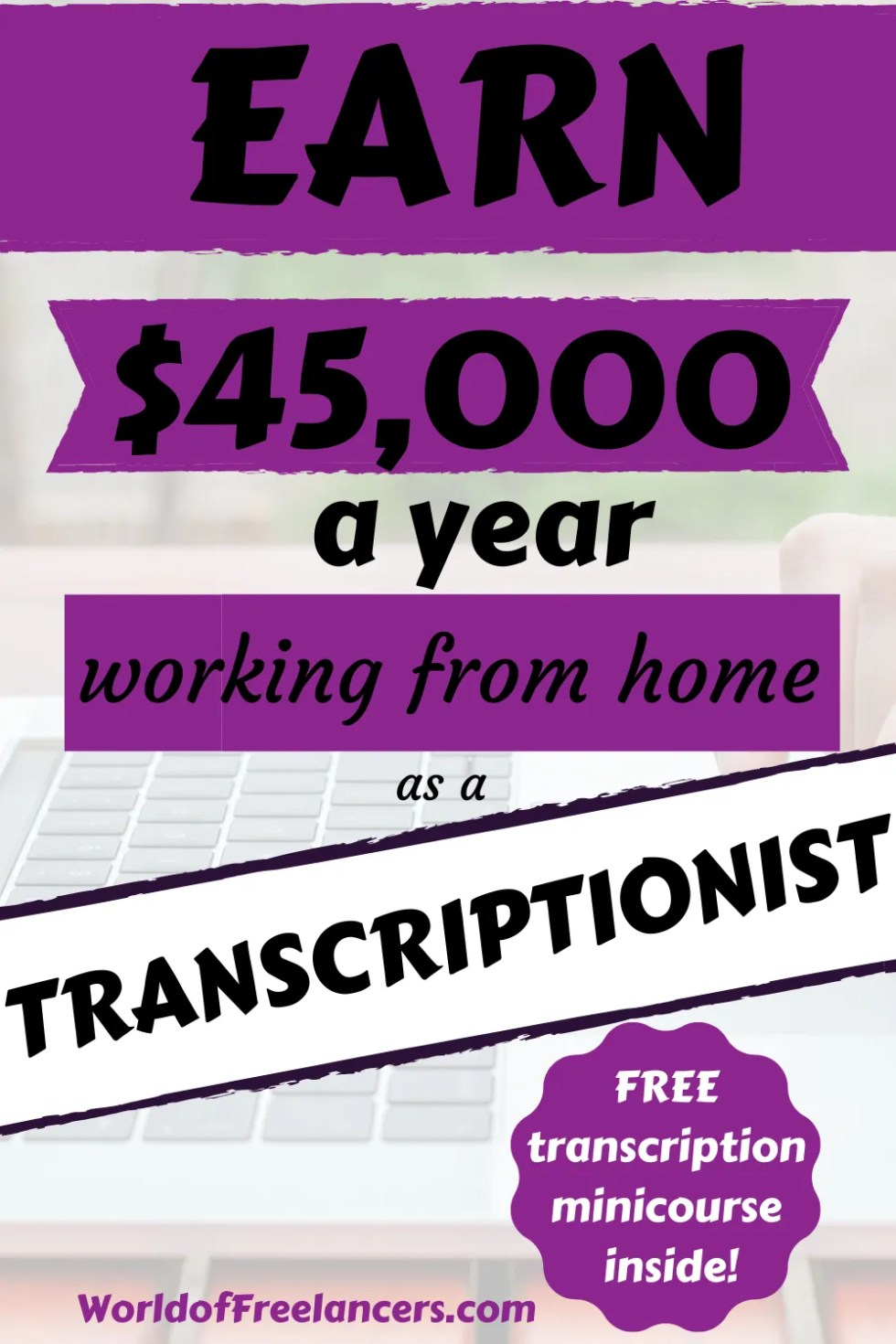 Earn $45,000 per year working from home as a transcriptionist
