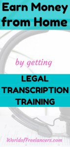 Pinterest image of headphones with text earn money from home by getting legal transcription training
