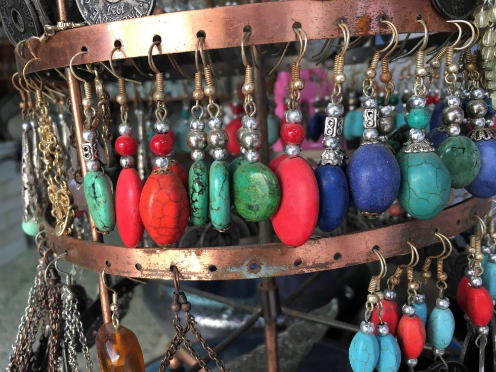 Colorful stone earrings in the Old City souq in Jerusalem, Israel