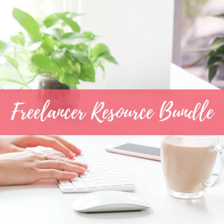 Etsy freelancer resource bundle written in white on pink stripe overlay with woman's hands on white keyboard and white drink in clear mug on table