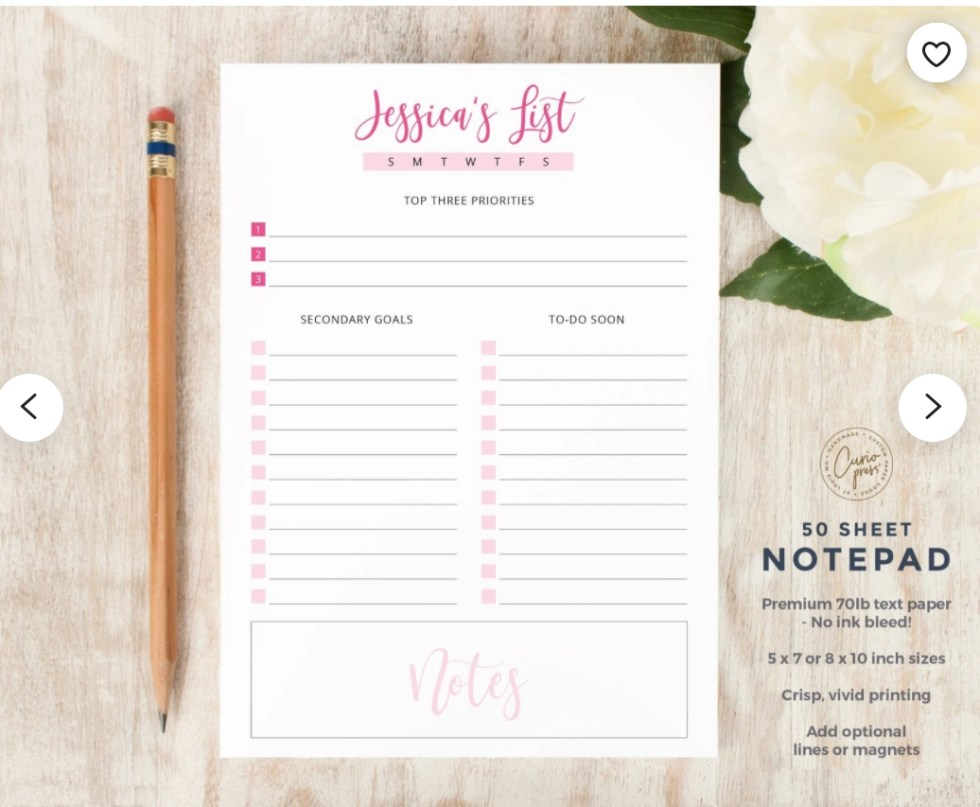 Etsy products - one sheet of a personalized notepad in pink and black with Jessica's List at the top