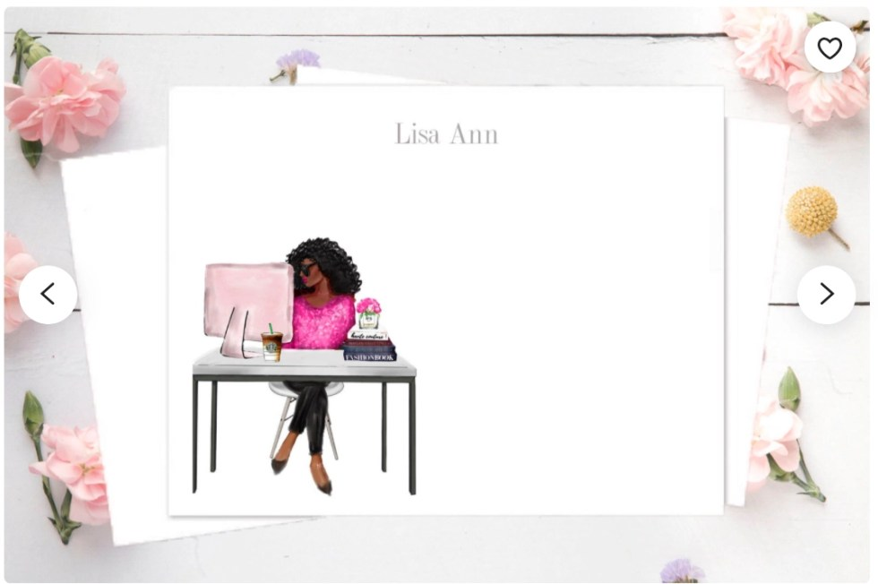 Etsy product of stationery with black female freelancer in bright pink blouse sitting at table with pink laptop and the name Lisa Ann at the top of the stationery