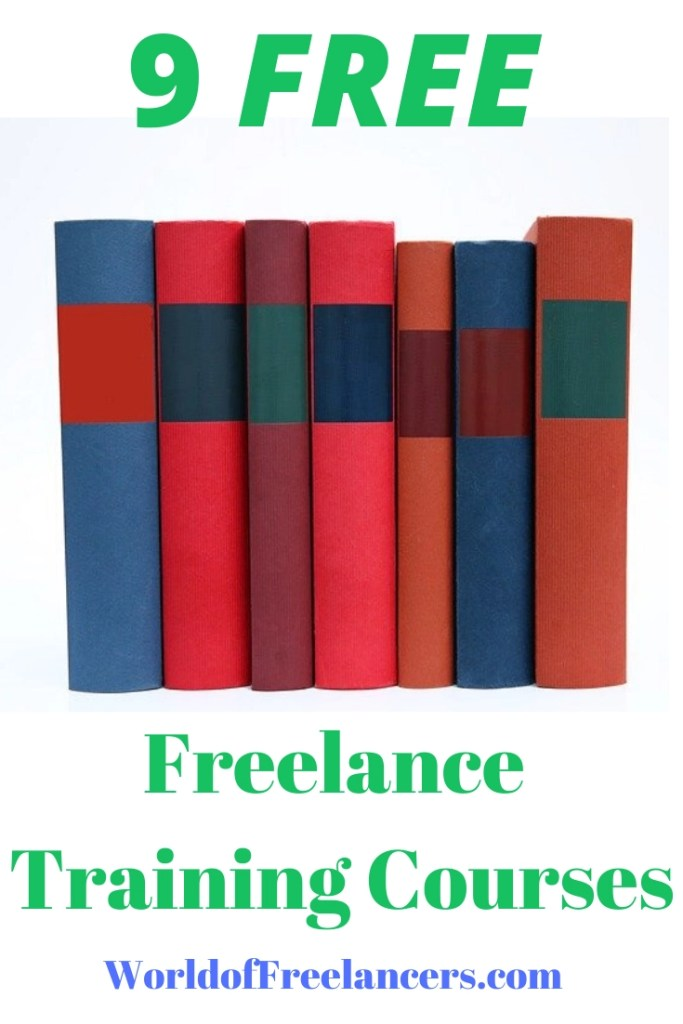 Several untitled books standing up in various shades of red, orange and blue for 9 free freelance training courses