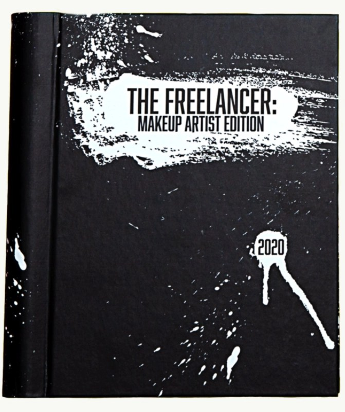 Black book with The Freelancer, makeup artist edition stamped on it with 2020 beneath it