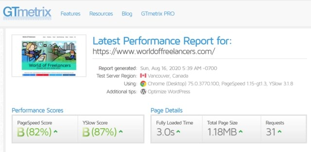 GTMetrix website speed test after installing and activating WP Rocket showing fully loaded time of 3.0 seconds and other factors