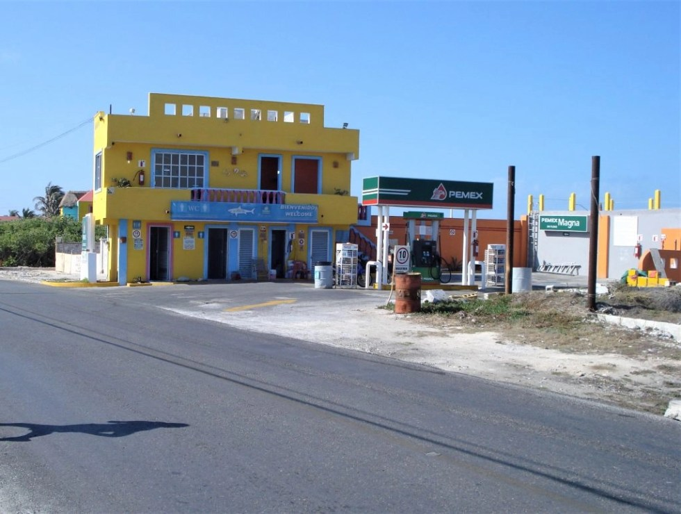 Colorful gas station in Isla Mujeres, Mexico, a few hours away from the Chichen Itza ruins