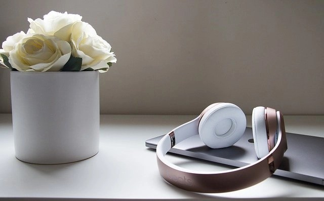 Legal transcriptionist training headphones on top of closed laptop with small vase of white flowers