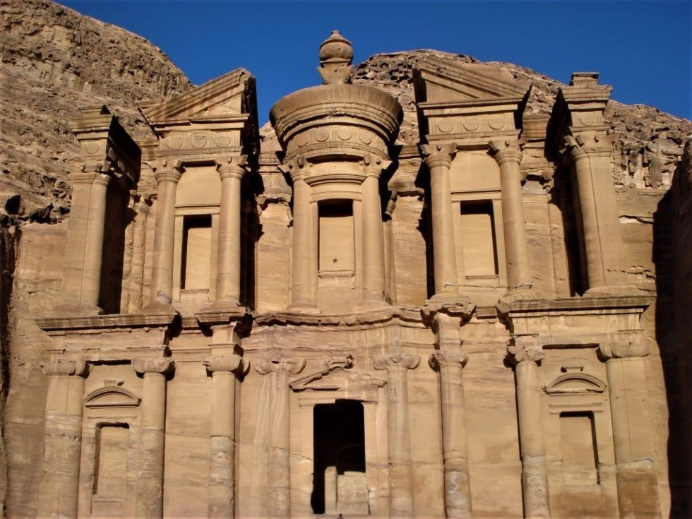 Outside view of the monastery after climbing the 800 steps to Petra's Monastery