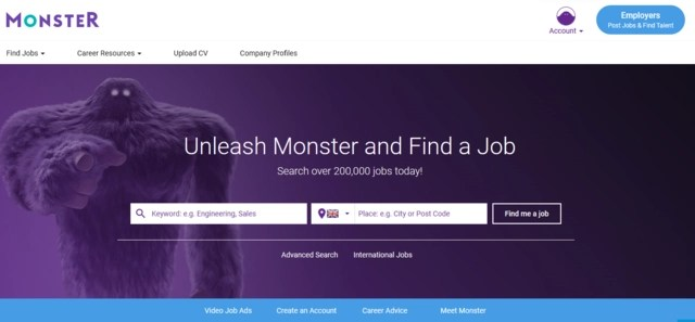 Monster.co.uk job search website home page