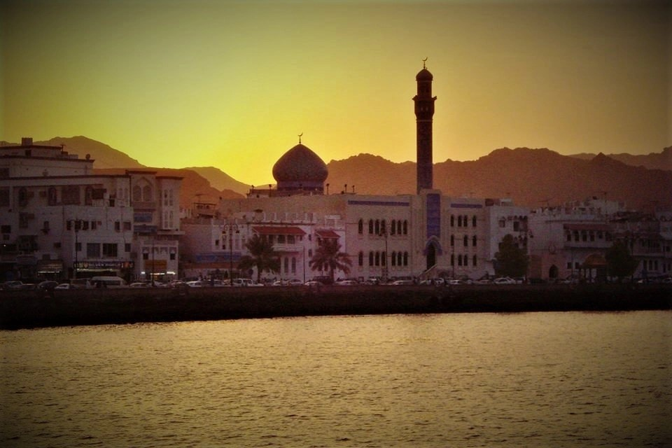Sun setting over Muscat, Oman