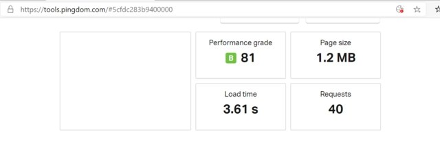 Pingdom speed test before loading the caching plugin showing load time of 3.61 seconds and other factors